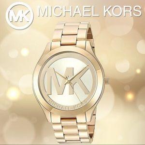 NEW! Michael Kors MK3739 Slim Runway Gold Watch